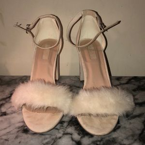 Fluffy Faux Fur Off White Heels.